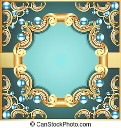 illustration decorative frame with pattern gold pearl