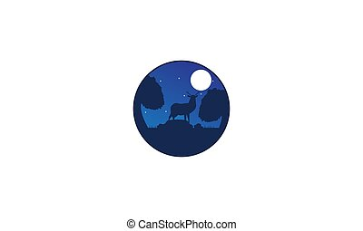 illustration deer or antelope in night with moon  design
