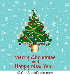 Illustration delicate background card with Christmas tree with candles and snowflakes