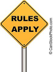 Illustration depicting a roadsign with a rules concept on white background