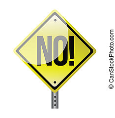 Illustration depicting a sign with a no concept.