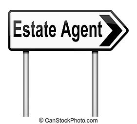 Estate Agent concept. - Illustration depicting a sign with ...