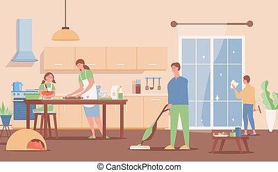illustration., design., 开支, 矢量, 一起, 家庭, 内部, 周末, 套间, 现代, 家