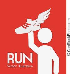 illustration., desporto, desenho, vetorial