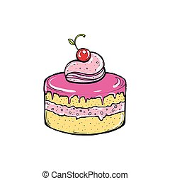 illustration., dessert, illustration, vecteur, doux, gâteau, baies