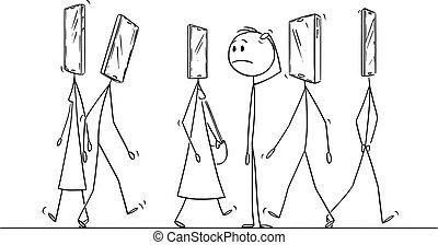 illustration, dessin animé, mobile, tête, homme, vecteur, ordinaire, rue, marche, téléphone, gens, stupéfié