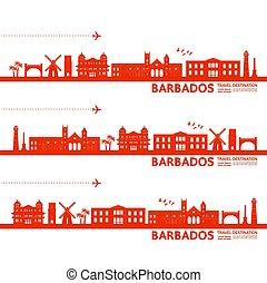 illustration., destination voyage, vecteur, grandiose, barbade
