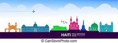 illustration., destinazione corsa, vettore, grande, haiti