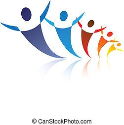 illustration, det gengi'r, grafik, glade, netværk, farverig, folk, er, positiv, samfund, sammen, sociale, kammerater, eller, symbols/icons