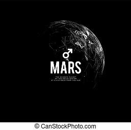 illustration., determination., symbolise, planète, mars., vecteur, mars, courage, astrologie, vigueur