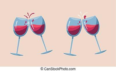 illustration., deux, glasses., vecteur, dessin animé, vin