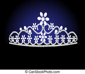 diadem feminine wedding with pearl - illustration diadem...