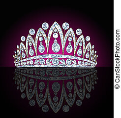 diadem feminine with reflection on black - illustration ...