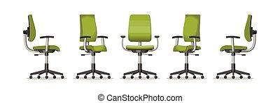 illustration, différent, chaise, perspectives, bureau