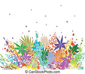 illustration, différent, fond, feuilles, coloré