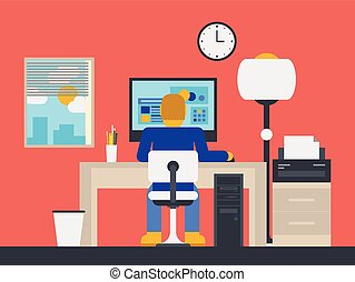 illustration, directeur, bureau fonctionnant