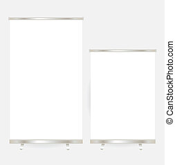 illustration., display., cima, vetorial, em branco, bandeira, rolo