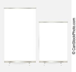 illustration., display., haut, vecteur, vide, bannière, rouleau