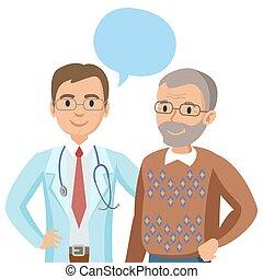 illustration., docteur, patient., conversation, vecteur, personne agee, physician., homme