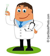 Illustration - doctor and syringe