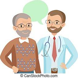 illustration., doctor, patient., hablar, vector, 3º edad, physician., hombre