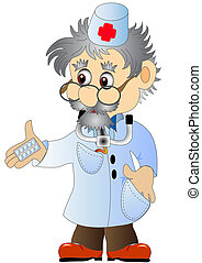 illustration doctor with tablet is insulated on white
