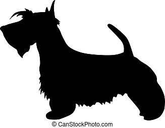 illustration, dog., terrier, silhouette, noir