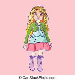 Illustration doll with blond hair
