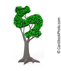 illustration., dollar, feuilles, arbre, signe, vert, forme, 3d