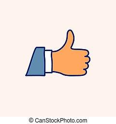 illustration., doodle, do góry, ręka, wektor, pociągnięty, ikona, kciuk