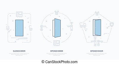 illustration., doors., vetorial, fechado, conceitual, abertos
