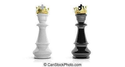 illustration, doré, couronnes, arrière-plan., échecs, rois, blanc, 3d