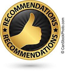 illustration, doré, vecteur, mieux, recommandation, étiquette