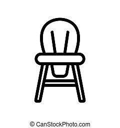 illustration, dos chaise, bois, contour, icône, enfants, rond, vecteur