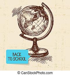 illustration, dos, vendange, main, dessiné, école