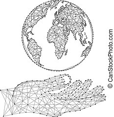 illustration., dots., σφαίρα , τιμωρία σε μαθητές να γράφουν το ίδιο πολλές φορές , χέρι , polygonal, ακουμπώ , μικροβιοφορέας , βάγιο , κόσμοs , αφαιρώ , ακαταλαβίστικος , μαύρο