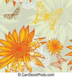 illustration., drawing., modello, farfalle, seamless, mano, vettore, girasoli