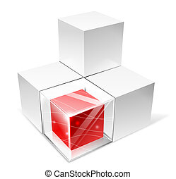 cube - illustration drawing of 3d red and gray cube