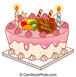 birthday cake - illustration drawing of a beautiful birthday...