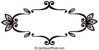 illustration drawing of beautiful black flower pattern in white background