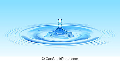 water ripple - illustration drawing of beautiful blue water ...