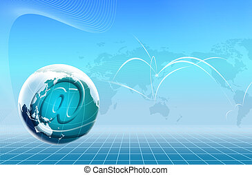illustration drawing of beautiful internet and earth
