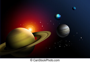 illustration drawing of beautiful planet in solar
