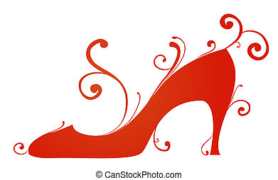 illustration drawing of beautiful red high heel shoe