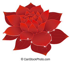 lotus - illustration drawing of beautiful red lotus with...