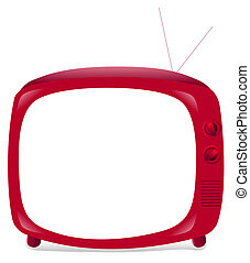 red TV - illustration drawing of beautiful red TV in a white...