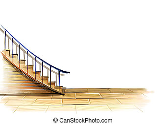 stairs and floor - illustration drawing of beautiful stairs ...