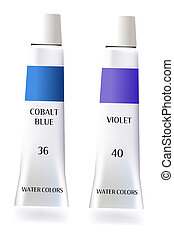 illustration drawing of blue pigment and purple pigment