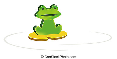 frog - illustration drawing of green frog sitting on a ...