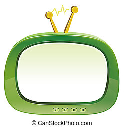 television - illustration drawing of green television in a...